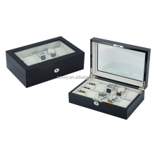 8 Slots Black Wooden Watch Box Packaging and Cufflink Storage