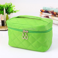 Wholesale 7 candy colors with brush compartments bulk plain quilted travel cosmetic bag