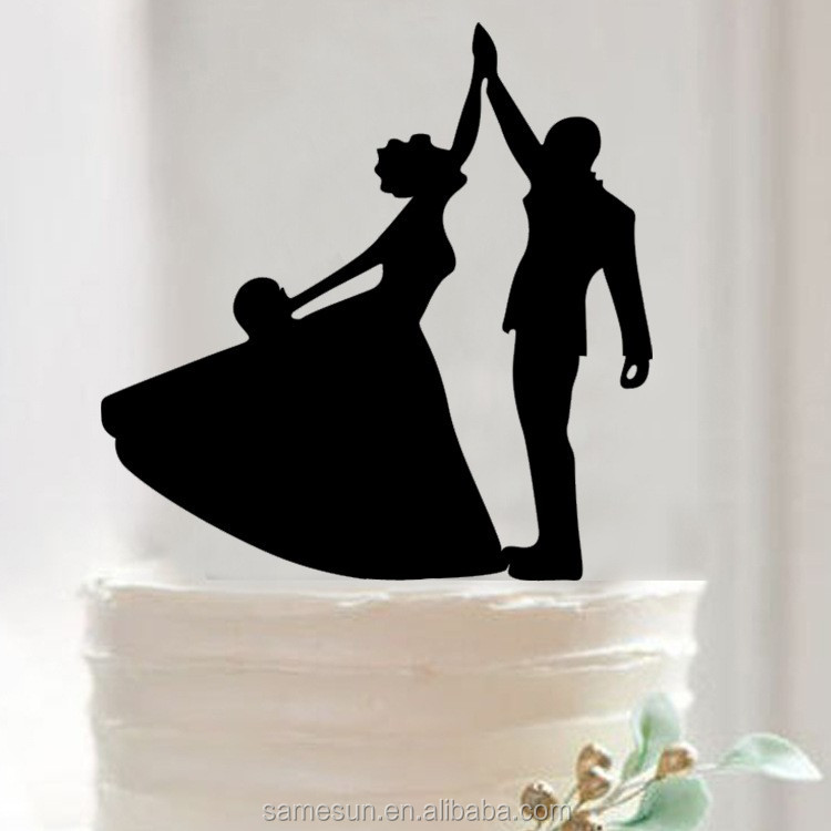 Sweet groom and bride design acrylic wedding cake topper