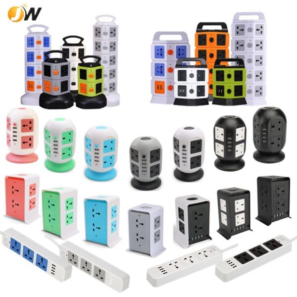 Multiple 6 Gang/way Universal Power Strip With Surge Protector and Retractable Cable