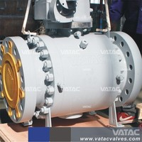 Vatac API6D Cast Steel WCB High Pressure Gear Operated Trunnion Mounted Flanged Ends Ball valve