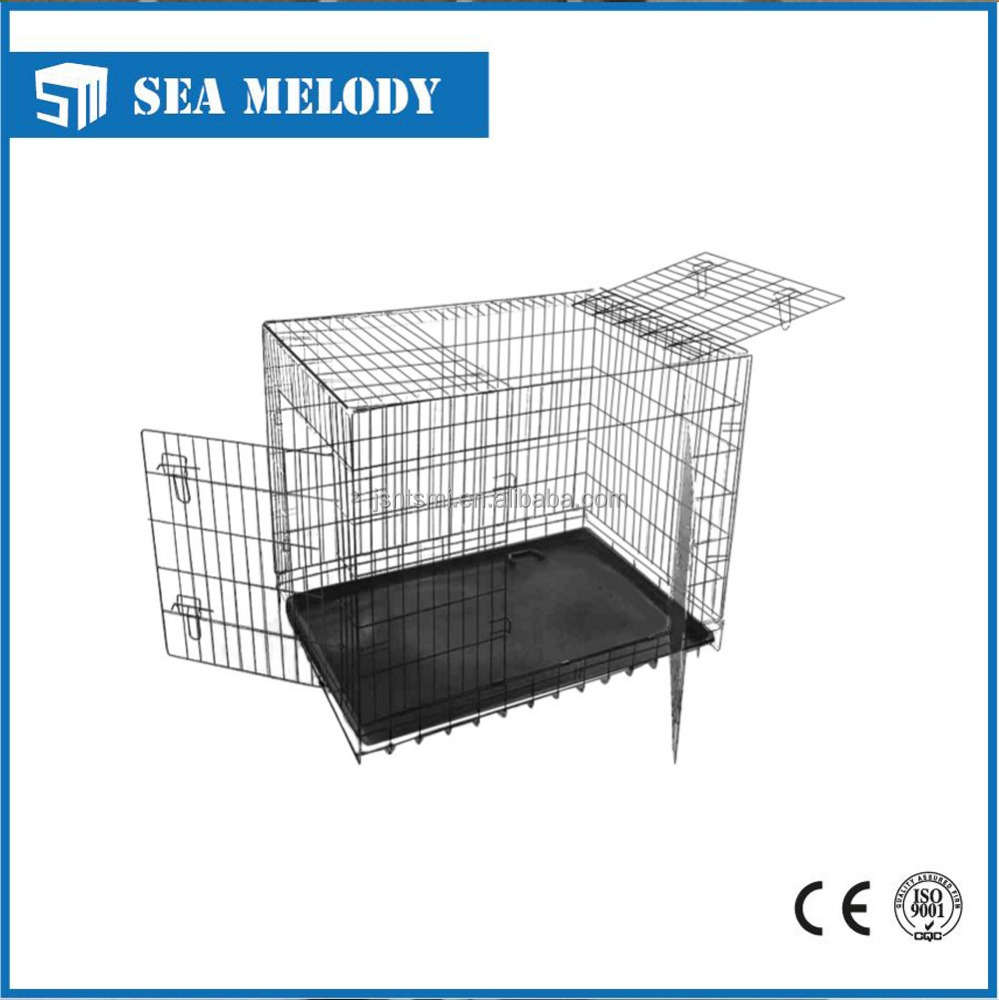 Foldable metal 3 doors pet dog cages