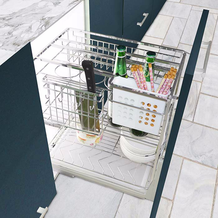 3 sides combined pull out kitchen furniture accessories basket