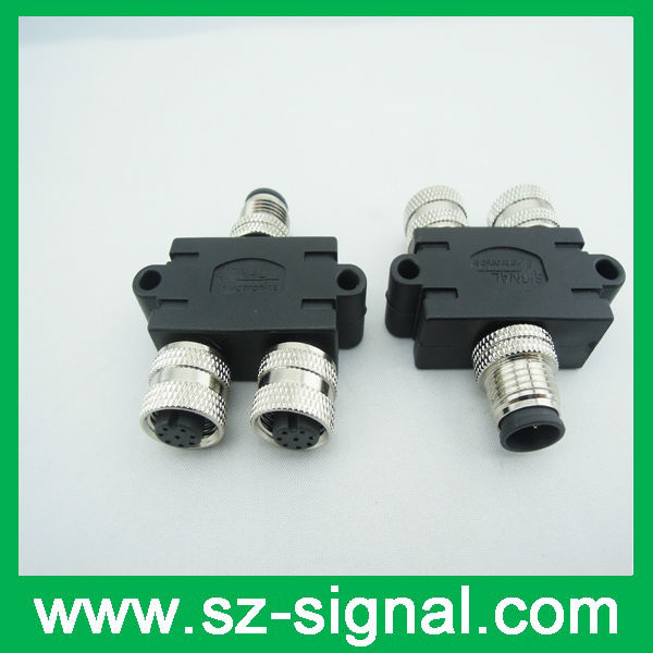 2013 new style M12 8 pin female 3 ways connector