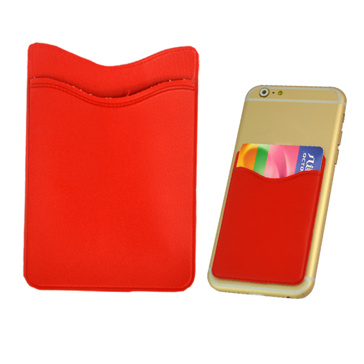 Solid red PVC 3M sticky card holder wallet