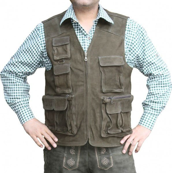 Mens Leather Vest Fishing Vest