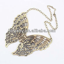 2013 fashion pendant jewelry, cheap engraved butterfly chains necklace