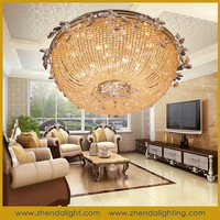 Contemporary champaign gold color crystal ceiling light and Nice K9 crystal chain chandelier for hotel