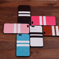 New Products Double Colored TPU Skin Cover case For iphone 6 Back Paste PU Leather Crazy Horse Strip case china supplier