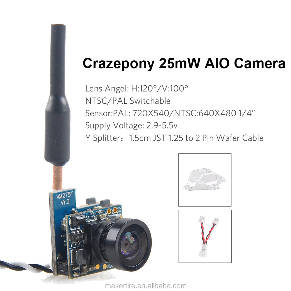 Crazepony FPV AIO Micro Camera 5.8G 40CH 25mW Transmitter with Y Splitter for FPV Drone like Blade Inductrix etc