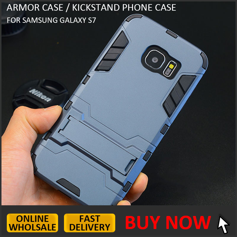 New design hybrid armor case with stand for samsung galaxy s7 kickstand phone case