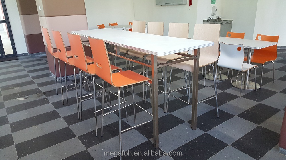 Restaurant furniture solutions steel and wood canteen table high chair (FOH-RGB46-1)