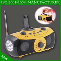AM FM solar powered radio player with flashlight and hand crank dynamo function can charge mobile phone XLN-701