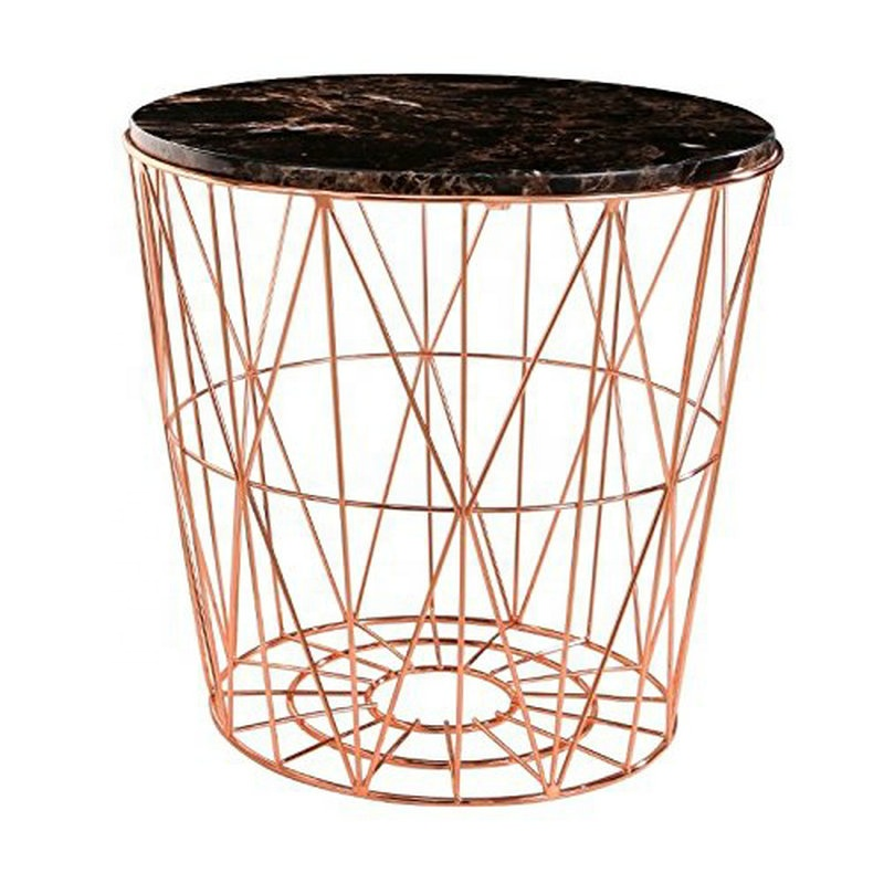 Meticulously designed Stain brass round modern side table <strong>furniture</strong> with storage