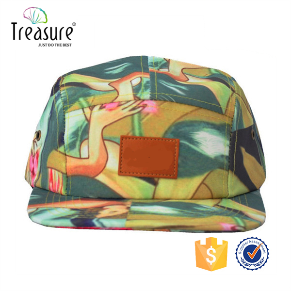 suede brim colourful digital print canvas pattern fabric knit woven label black nylon buckle 5 panel cap camp hat