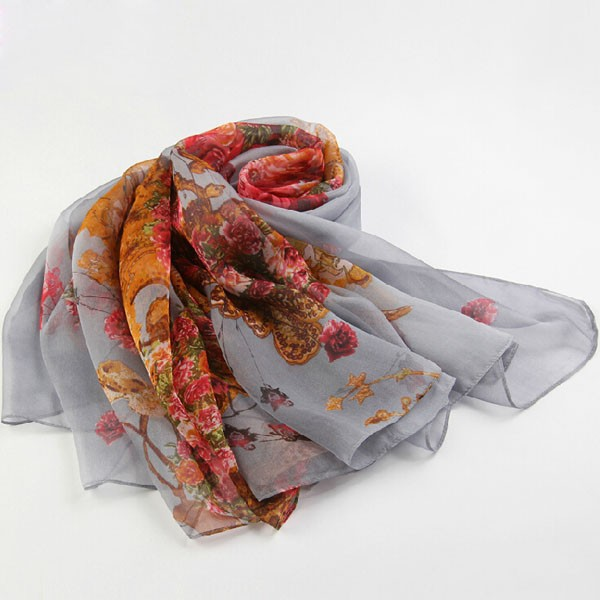 Pure silk chiffon square printed scarf with many avail design