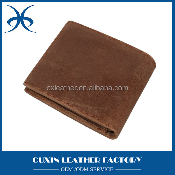 2016 new classcial light brown business style man genuine cow leather wallet