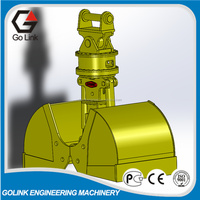 High efficiency rotating clamshell grab grapple for excavator