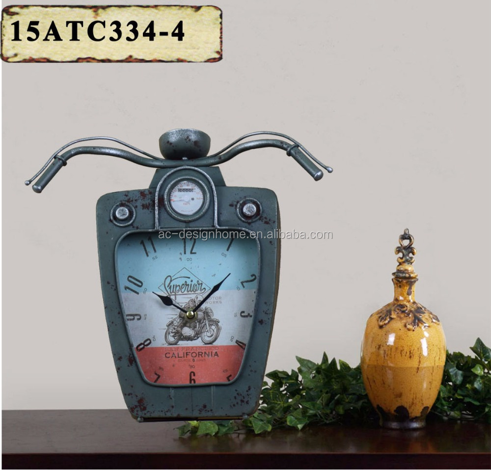 ANTIQUE GREY METAL MOTORCYCLES SHAPE TABLE TOP CLOCK