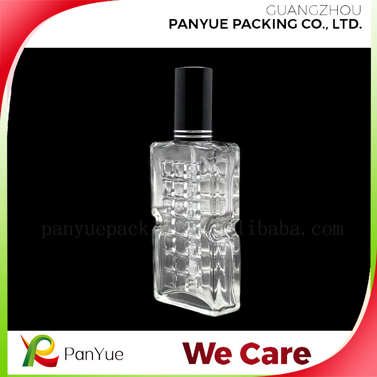 new style custom made high class crystal square perfume glass empty bottle with black cap and pump