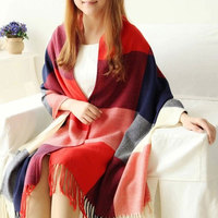 Classical lady pashmina knitted acrylic scarf red checked shawl