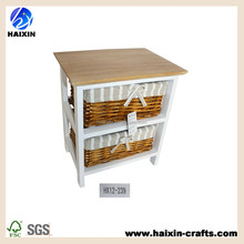 brown color wooden cabinet/ wooden cabinet with wicker baskets/ wood storage cabinet