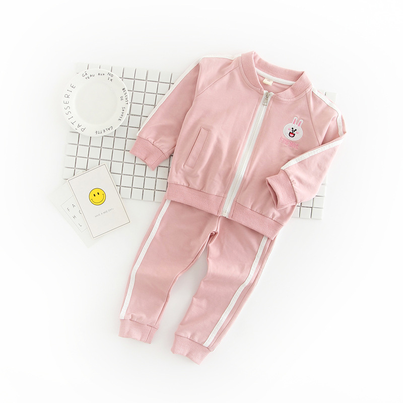 Latest design rabbit pattern zippered tracksuits for baby girls