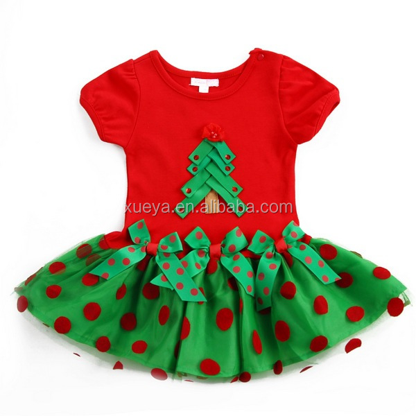 Christmas tree high quality best selling kids girl dress
