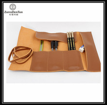 genuine leather multi pen slots pen case for students