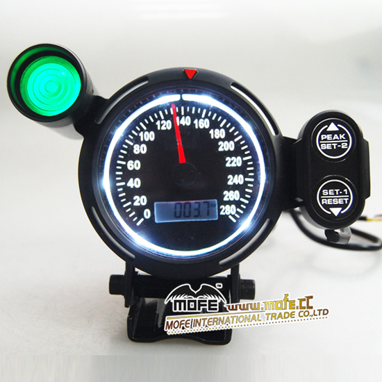High Performance Racing 80mm White LED Speemeter Auto Gauge With Shift Light