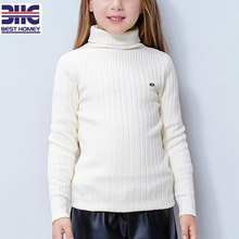 kids' 100% cotton turtleneck knitted white sweater designs for baby girl