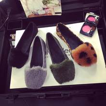 2017 New Design New Arrival Women Flats Low Cut Slip-on Suede Synthetic Fur Ladies casual Shoes