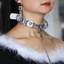 Punk Rivets Adult sex toys Pets Dog Slaves Leash Choker Necklace Holographic Laser pu leather Chocker Sex Product