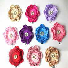 Wholesale Singed Satin Rose Hair Flowers Lovely Girls Cloth Accessories