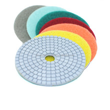 "Diamond Polishing Pads 4"" inch Wet/Dry Set of 7 Backer Pad Best Value Granite Concrete"