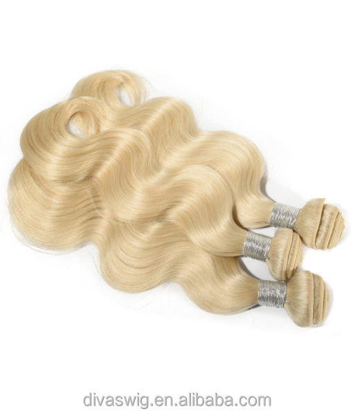 Pure virgin wavy white blonde 613 color brazilian hair handtied weft