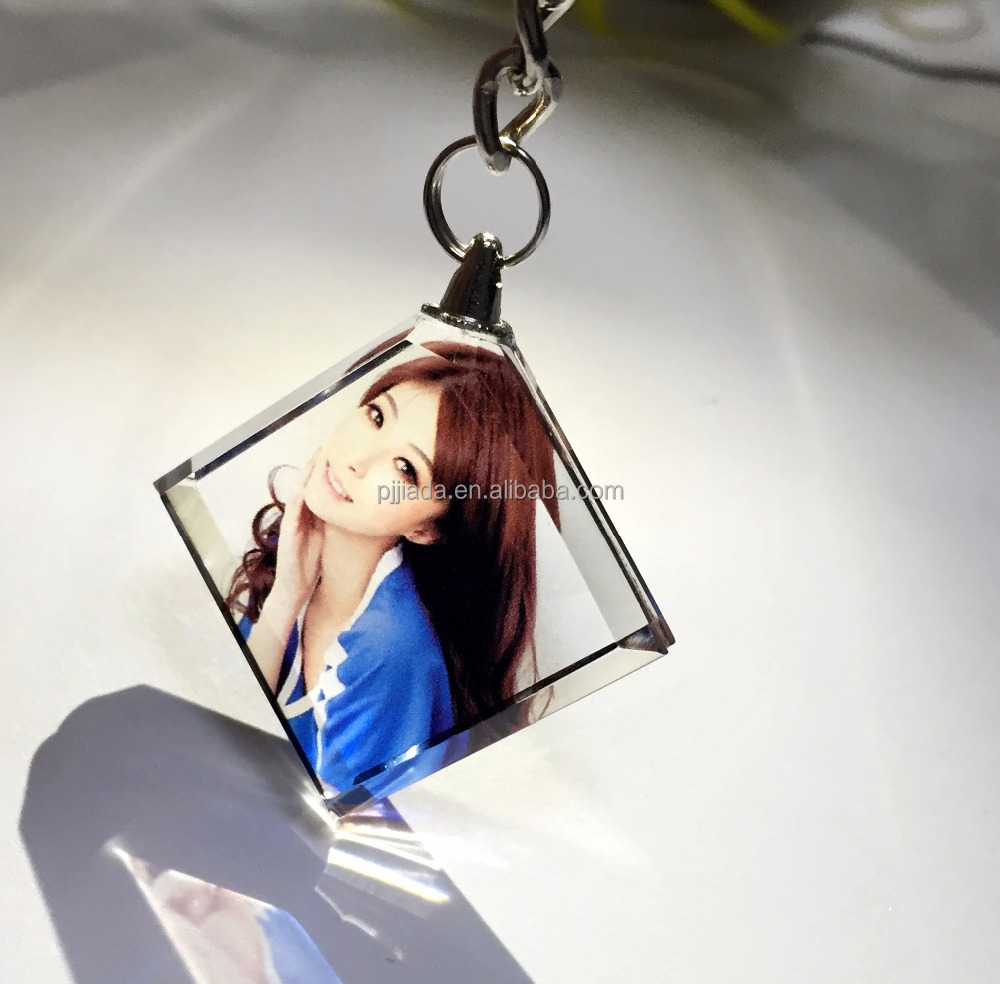 Hot selling 3d laser custom design love gift LED crystal photo keychain