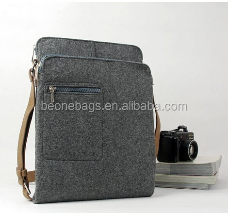 mens Gray Felt Shoulder Business sling cross body bag