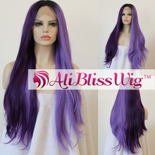 Long Straight Heat Resistant Fiber Hair Dark Roots Ombre Dark Purple Light Purple Half and Half Color Synthetic Lace Front Wig