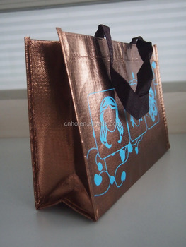 Reusable customized non woven bag with full laser lamination non woven shopping bag