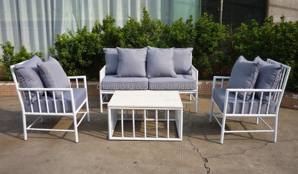 White Aluminum Outdoor Sofa Set In Bamboo Design 4pc Set   Buy White Finish  Outdoor Sofa Set,Aluminum In Bamboo Design Sofa Set,Aluminum Outdoor Sofa  ...