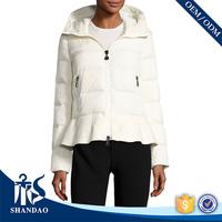 Assessed Supplier OEM Trendsetting Design Pleated Peplum Hem White Down Feather Winter Jacket Women
