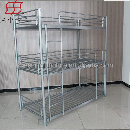 Iron bed steel cots iron cots three 3 tier bunk bed
