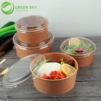 Brown Color Paper Material Paper Salad Bowls with Lids