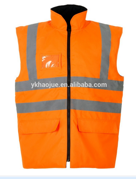 Orange reflective safety life vest with id card pocket