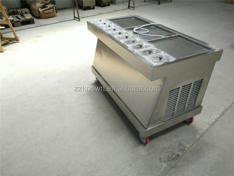 CE Approved cold pan ice pan fry fried ice cream machine/thailand rolled fried ice cream machine