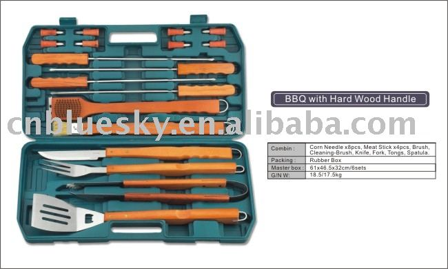 18pc wooden handle Barbecue Set in Carrying Case: