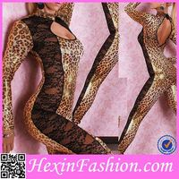 Animal Printed Sexy Hot Leather Catsuit For Lady
