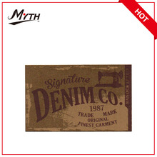 jeans kraft paper label silk screen printing patch for jeans Branded Jeans Fake Leather Label