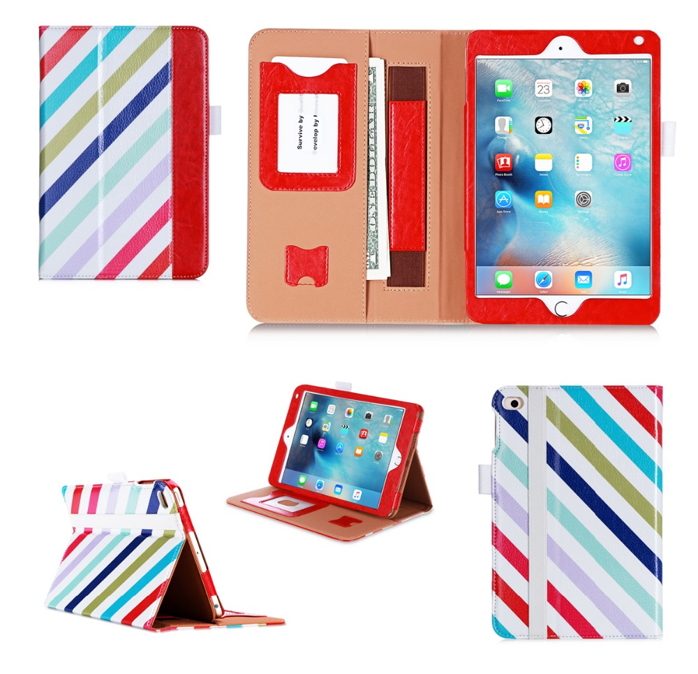 PU Flip Wallet Tablet Cover Custom Shockproof Tablet Case For iPad Mini4